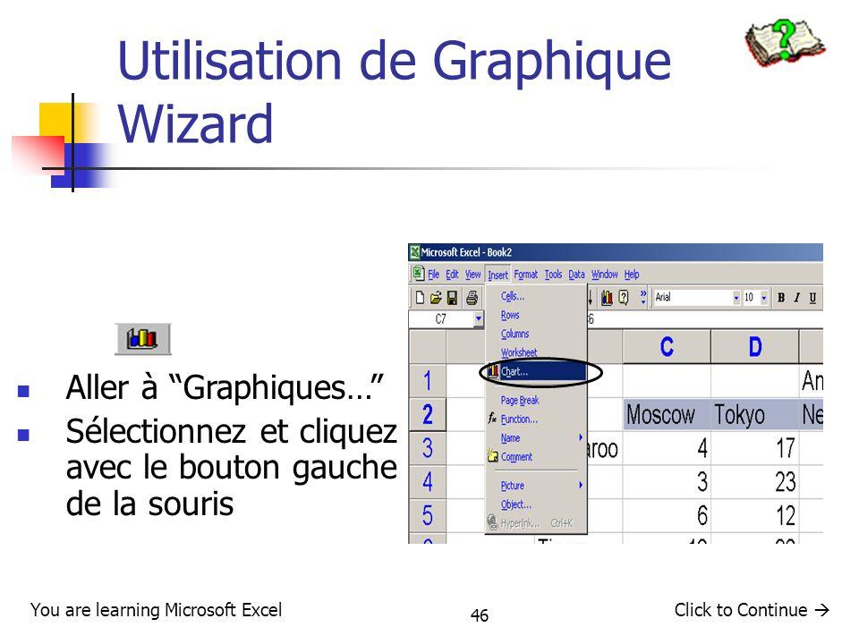 46 Utilisation de Graphique Wizard Click to Continue You are learning Microsoft Excel Aller à Graphiques… Sélectionnez et cliquez avec le bouton gauch