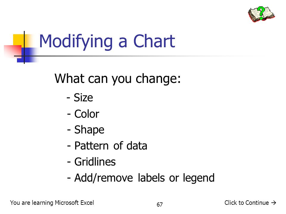 67 Modifying a Chart What can you change: - Size - Color - Shape - Pattern of data - Gridlines - Add/remove labels or legend You are learning Microsoft ExcelClick to Continue