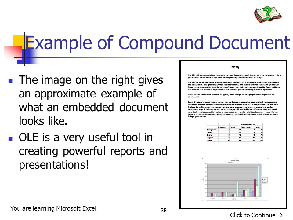 88 Example of Compound Document The image on the right gives an approximate example of what an embedded document looks like.