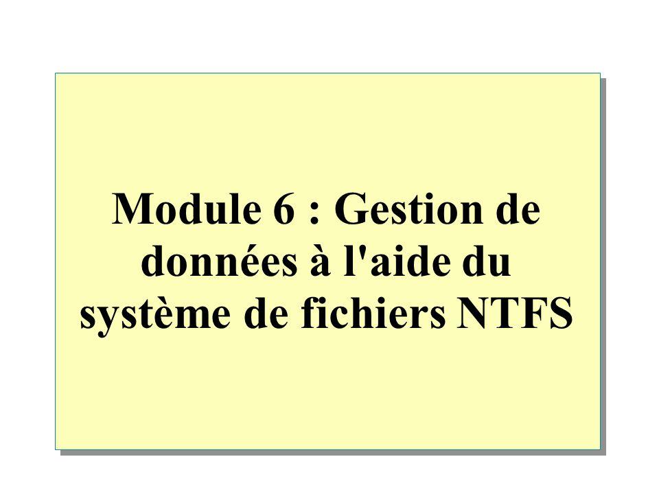 Vue d ensemble Présentation des autorisations NTFS Application des autorisations NTFS dans Windows 2000 Utilisation des autorisations NTFS Utilisation des autorisations NTFS spéciales Compression de données sur une partition NTFS Configuration de quotas de disque sur des partitions NTFS Sécurisation de données à l aide du système EFS