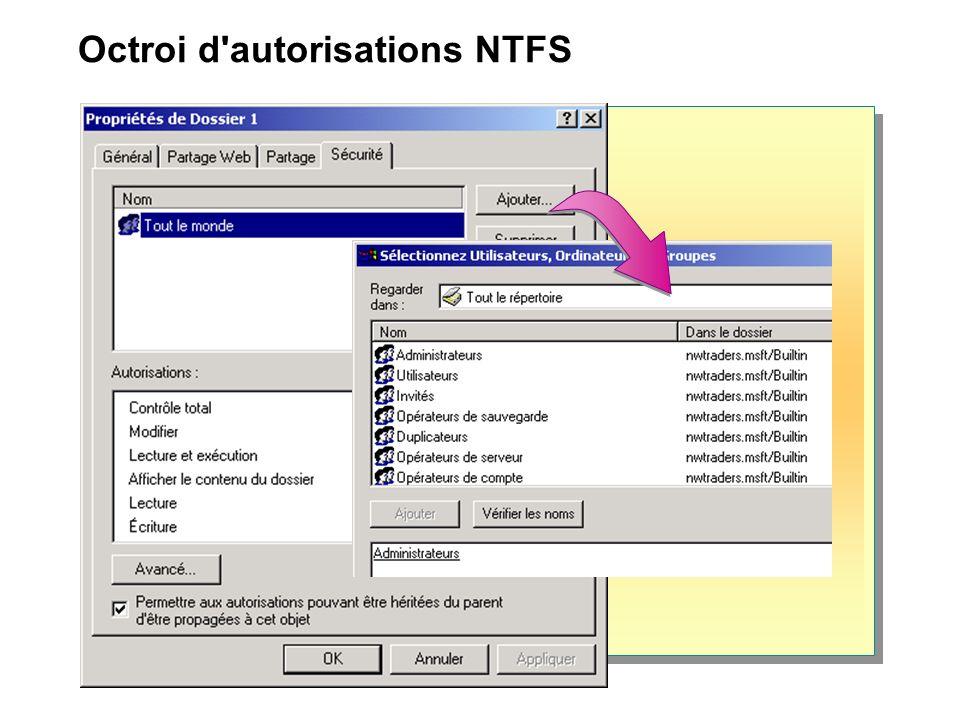 Octroi d'autorisations NTFS