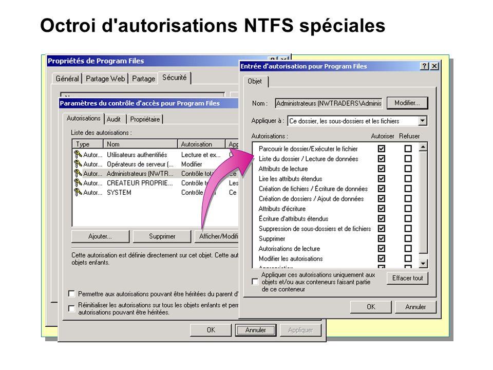 Octroi d'autorisations NTFS spéciales