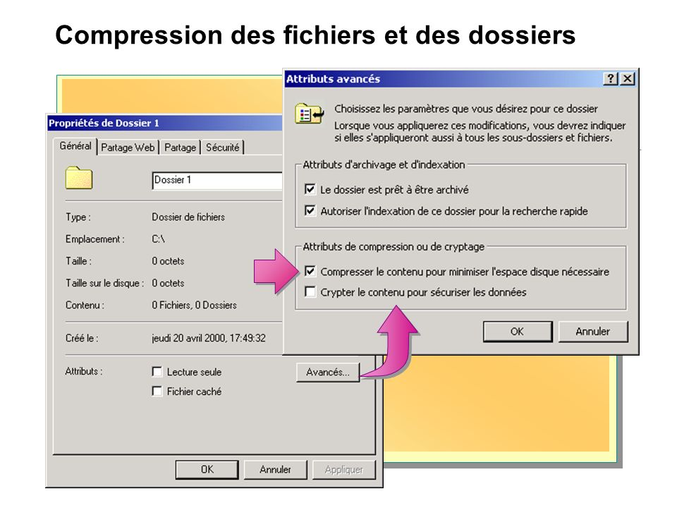 Compression des fichiers et des dossiers Choose the settings you want for this folder When you apply these changes you will be asked if you want the c