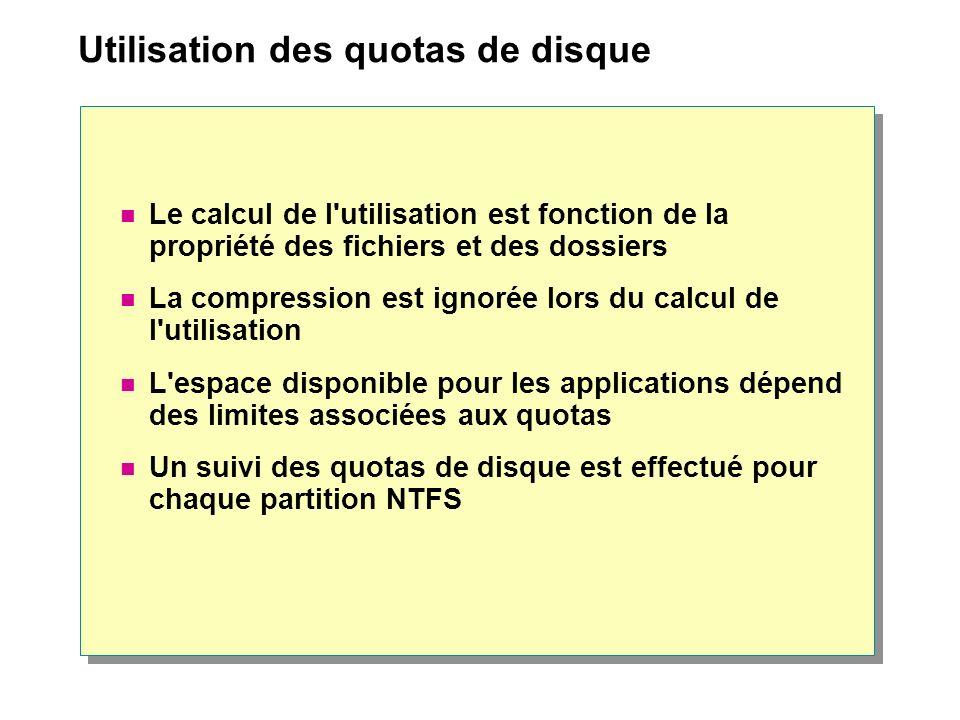 Utilisation des quotas de disque Le calcul de l'utilisation est fonction de la propriété des fichiers et des dossiers La compression est ignorée lors