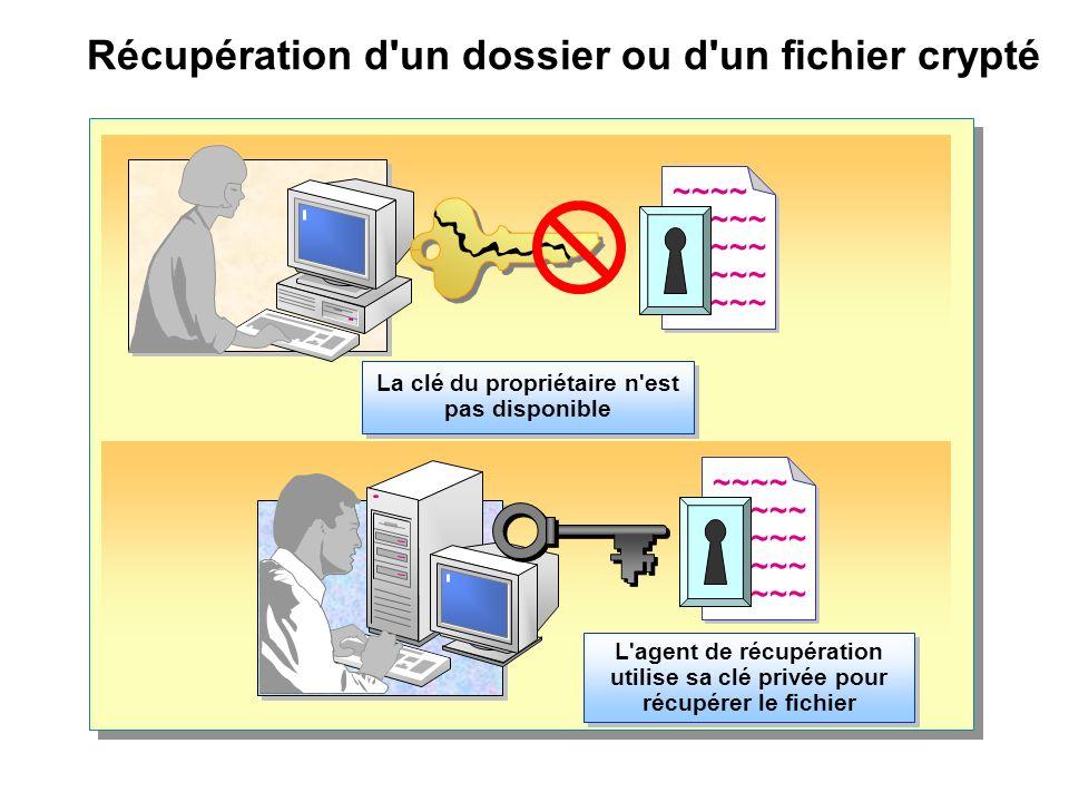 Récupération d'un dossier ou d'un fichier crypté ~~~~ ~~~~~ ~~~~ ~~~~~ La clé du propriétaire n'est pas disponible L'agent de récupération utilise sa