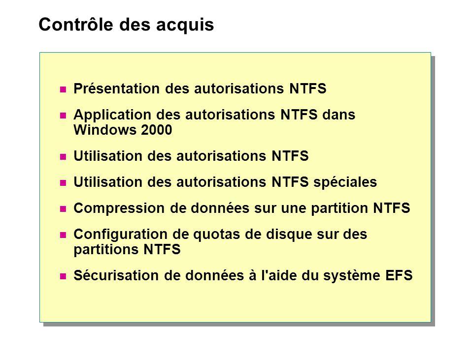 Contrôle des acquis Présentation des autorisations NTFS Application des autorisations NTFS dans Windows 2000 Utilisation des autorisations NTFS Utilis