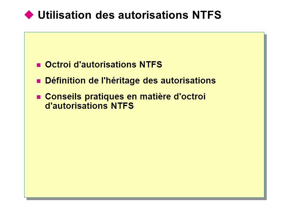 Utilisation des autorisations NTFS Octroi d'autorisations NTFS Définition de l'héritage des autorisations Conseils pratiques en matière d'octroi d'aut