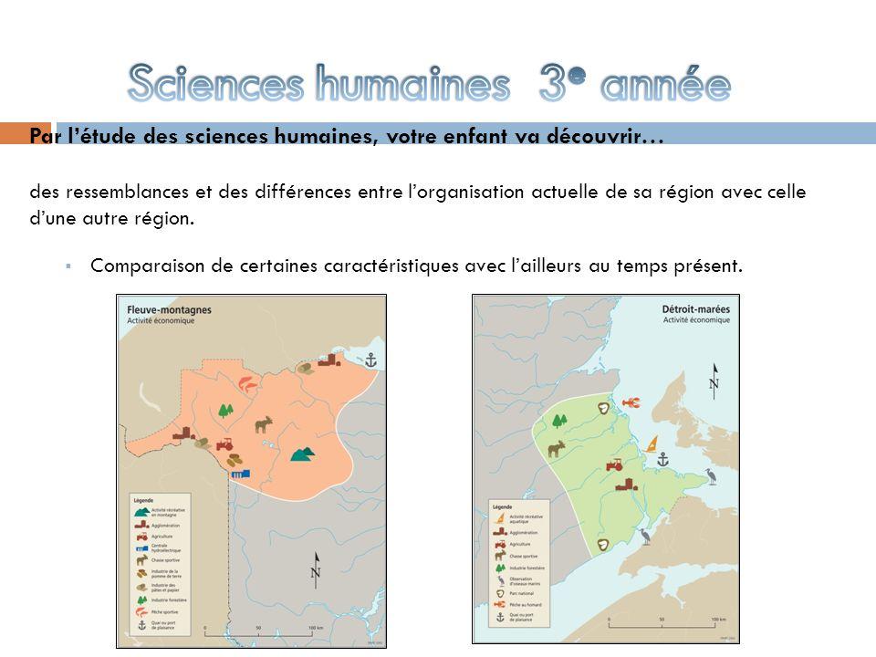 Par létude des sciences humaines, votre enfant va découvrir… des ressemblances et des différences entre lorganisation actuelle de sa région avec celle dune autre région.