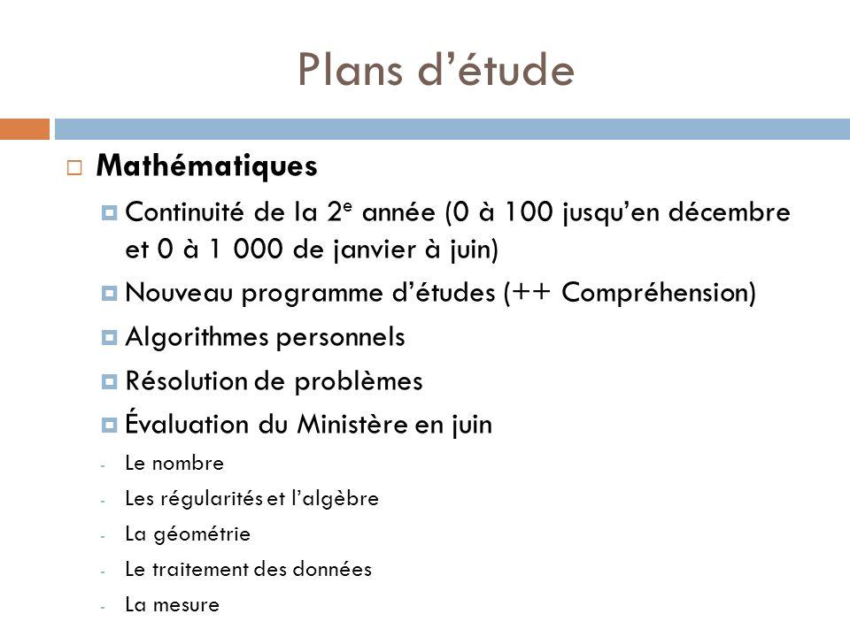 Plans détude Mathématiques Continuité de la 2 e année (0 à 100 jusquen décembre et 0 à 1 000 de janvier à juin) Nouveau programme détudes (++ Compréhe