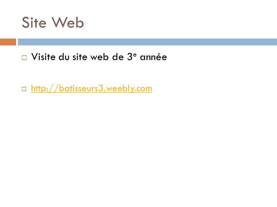 Site Web Visite du site web de 3 e année http://batisseurs3.weebly.com