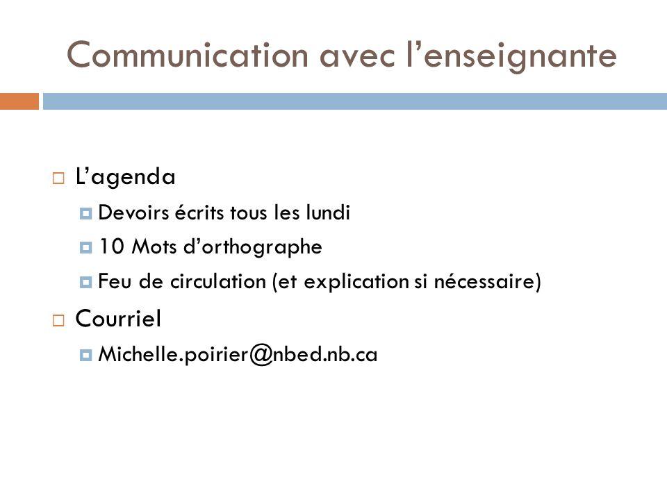 Communication avec lenseignante Lagenda Devoirs écrits tous les lundi 10 Mots dorthographe Feu de circulation (et explication si nécessaire) Courriel