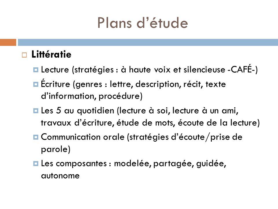 Plans détude Littératie Lecture (stratégies : à haute voix et silencieuse -CAFÉ-) Écriture (genres : lettre, description, récit, texte dinformation, p
