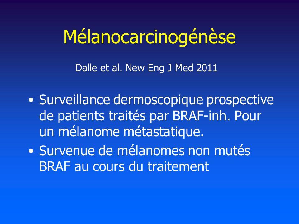 Mélanocarcinogénèse Surveillance dermoscopique prospective de patients traités par BRAF-inh.