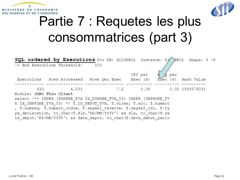 Lionel Frachon - SII Page 12 Partie 7 : Requetes les plus consommatrices (part 3) SQL ordered by Executions SQL ordered by Executions for DB: SILODECL