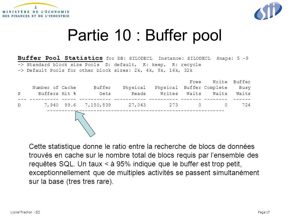 Lionel Frachon - SII Page 17 Partie 10 : Buffer pool Buffer Pool Statistics Buffer Pool Statistics for DB: SILODECL Instance: SILODECL Snaps: 5 -9 -> Standard block size Pools D: default, K: keep, R: recycle -> Default Pools for other block sizes: 2k, 4k, 8k, 16k, 32k Free Write Buffer Number of Cache Buffer Physical Physical Buffer Complete Busy P Buffers Hit % Gets Reads Writes Waits Waits Waits --- ---------- ----- ----------- ----------- ---------- ------- -------- ------ D 7,940 99.6 7,150,839 27,043 273 0 0 724 ------------------------------------------------------------- Cette statistique donne le ratio entre la recherche de blocs de données trouvés en cache sur le nombre total de blocs requis par lensemble des requêtes SQL.