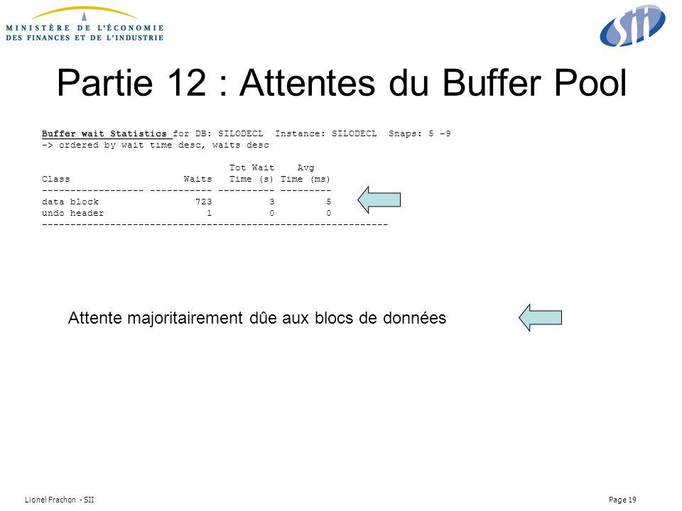 Lionel Frachon - SII Page 19 Partie 12 : Attentes du Buffer Pool Buffer wait Statistics Buffer wait Statistics for DB: SILODECL Instance: SILODECL Snaps: 5 -9 -> ordered by wait time desc, waits desc Tot Wait Avg Class Waits Time (s) Time (ms) ------------------ ----------- ---------- --------- data block 723 3 5 undo header 1 0 0 ------------------------------------------------------------- Attente majoritairement dûe aux blocs de données