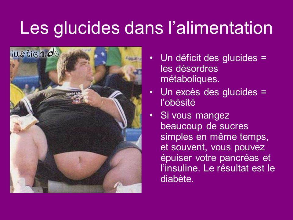 Les glucides dans lalimentation Un déficit des glucides = les désordres métaboliques. Un excès des glucides = lobésité Si vous mangez beaucoup de sucr