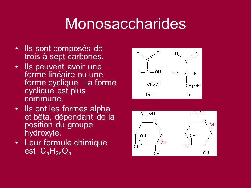 Monosaccharides Ils sont composés de trois à sept carbones. Ils peuvent avoir une forme linéaire ou une forme cyclique. La forme cyclique est plus com