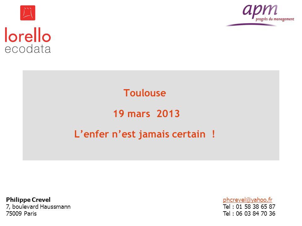 Toulouse 19 mars 2013 Lenfer nest jamais certain ! Philippe Crevel 7, boulevard Haussmann 75009 Paris phcrevel@yahoo.fr Tel : 01 58 38 65 87 Tel : 06