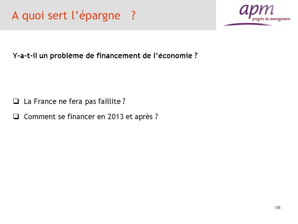 105 A quoi sert lépargne ? Y-a-t-il un problème de financement de léconomie ? La France ne fera pas faillite ? Comment se financer en 2013 et après ?