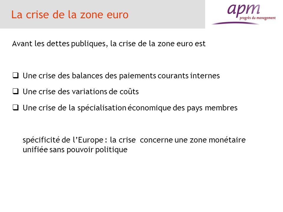 La crise de la zone euro Avant les dettes publiques, la crise de la zone euro est Une crise des balances des paiements courants internes Une crise des