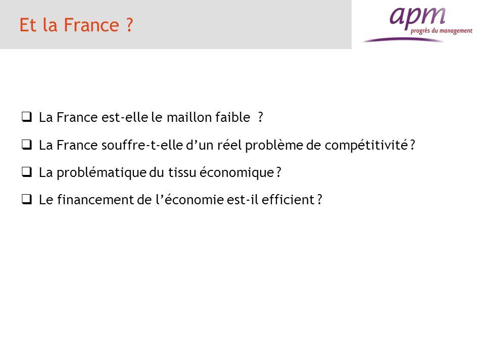 Et la France ? La France est-elle le maillon faible ? La France souffre-t-elle dun réel problème de compétitivité ? La problématique du tissu économiq