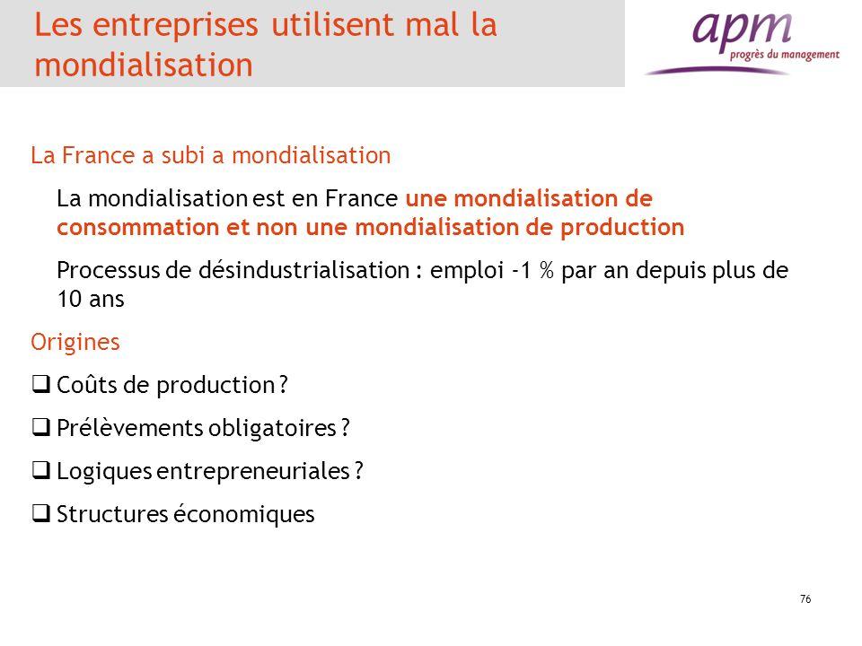 Les entreprises utilisent mal la mondialisation 76 La France a subi a mondialisation La mondialisation est en France une mondialisation de consommatio