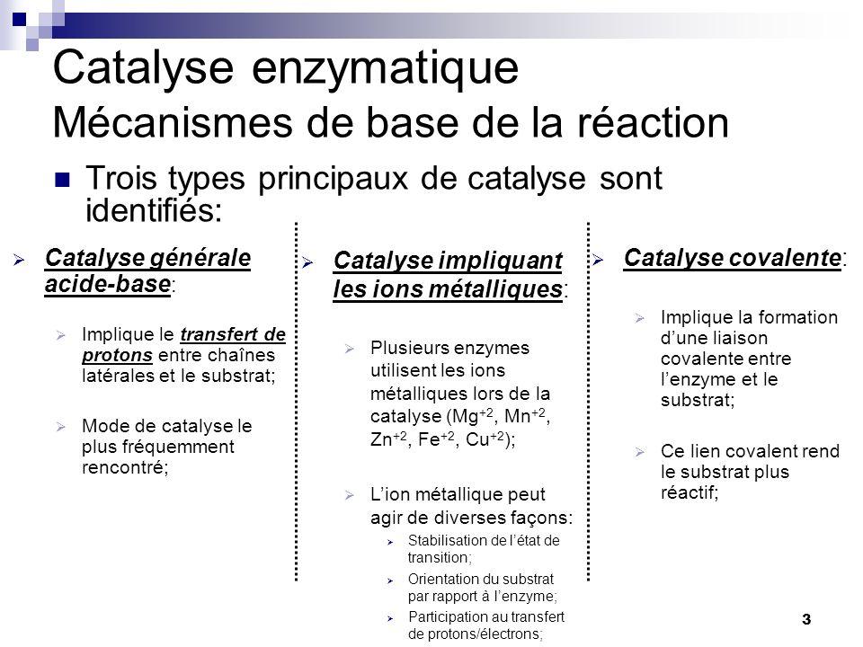 CHMI 2227 - E.R. Gauthier, Ph.D.3 Catalyse enzymatique Mécanismes de base de la réaction Catalyse générale acide-base : Implique le transfert de proto