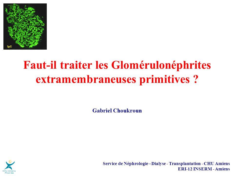 Objectifs thérapeutiques Protéinurie < 0,5 g/j Rémission complète < 1 g/j ou < 3 g/jRémission partielle Fonction rénale Prévention de la dégradation de la fonction rénale Réduction de la progression de lIRC Décès