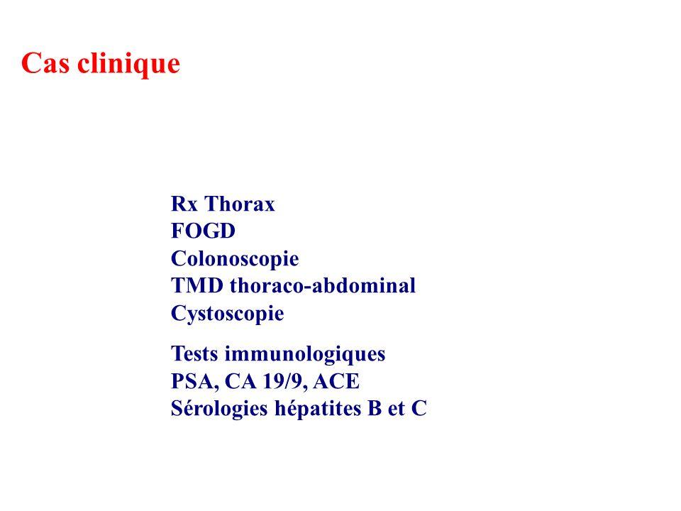Cas clinique Rx Thorax FOGD Colonoscopie TMD thoraco-abdominal Cystoscopie Tests immunologiques PSA, CA 19/9, ACE Sérologies hépatites B et C