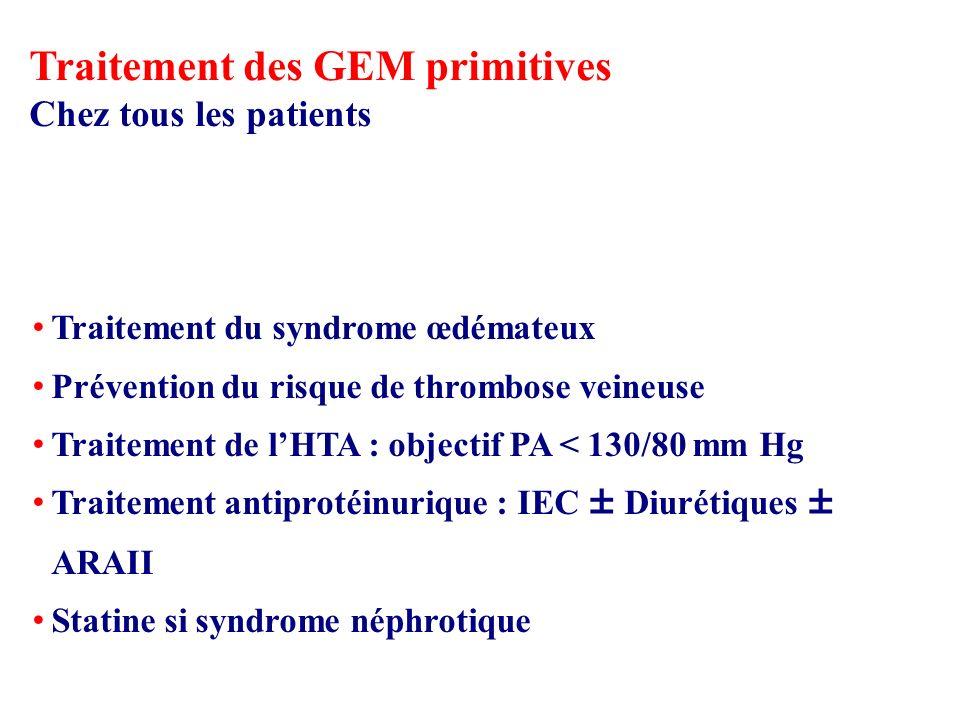 Chez tous les patients Traitement du syndrome œdémateux Prévention du risque de thrombose veineuse Traitement de lHTA : objectif PA < 130/80 mm Hg Traitement antiprotéinurique : IEC ± Diurétiques ± ARAII Statine si syndrome néphrotique