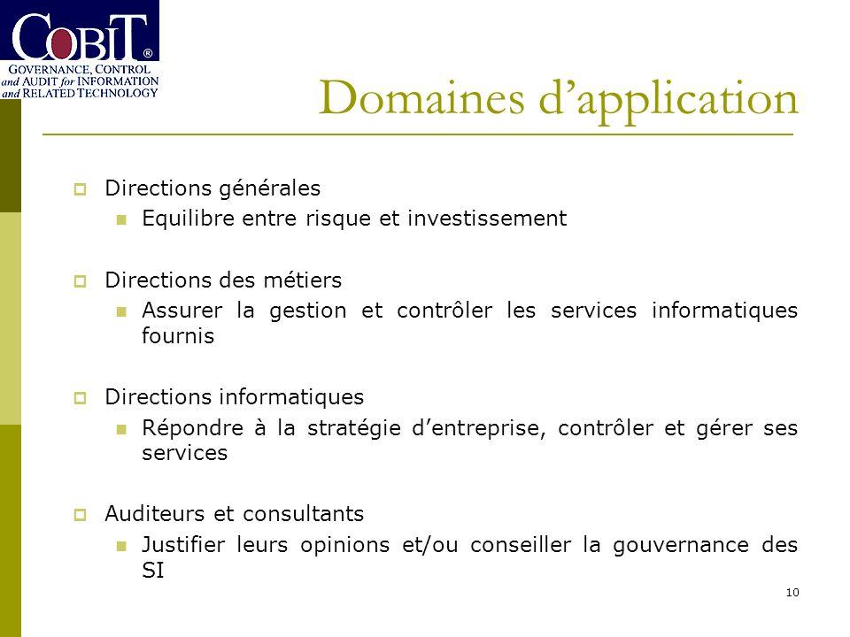 Domaines dapplication 10 Directions générales Equilibre entre risque et investissement Directions des métiers Assurer la gestion et contrôler les serv