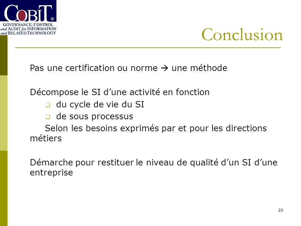 Conclusion 20 Pas une certification ou norme une méthode Décompose le SI dune activité en fonction du cycle de vie du SI de sous processus Selon les b