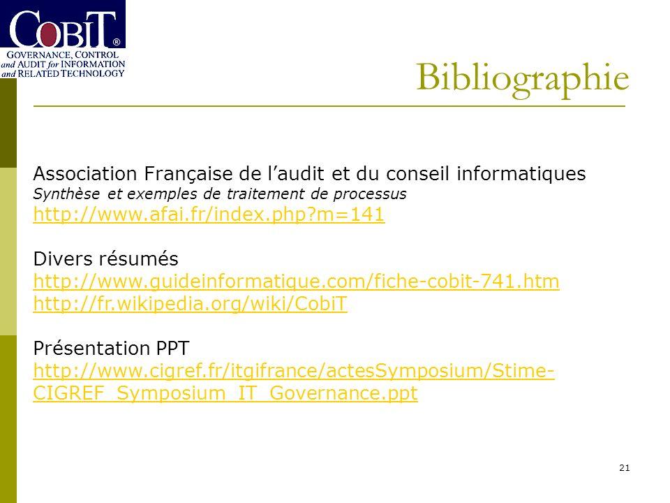 Bibliographie 21 Association Française de laudit et du conseil informatiques Synthèse et exemples de traitement de processus http://www.afai.fr/index.