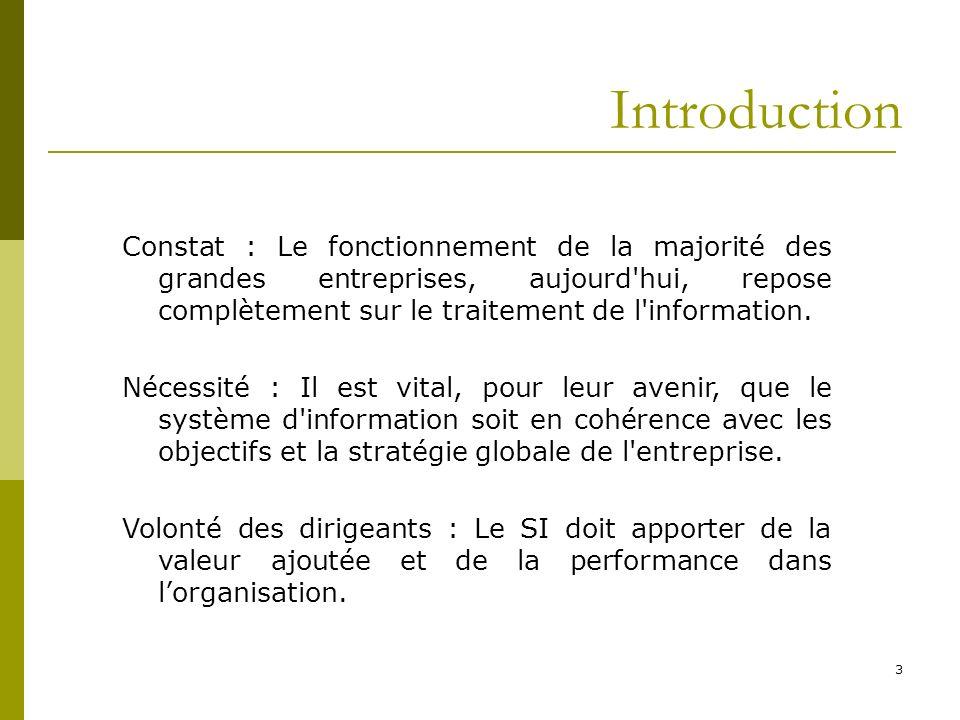 Introduction 3 Constat : Le fonctionnement de la majorité des grandes entreprises, aujourd'hui, repose complètement sur le traitement de l'information