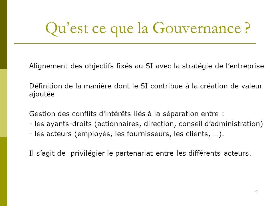 4 Quest ce que la Gouvernance ? Alignement des objectifs fixés au SI avec la stratégie de lentreprise Définition de la manière dont le SI contribue à