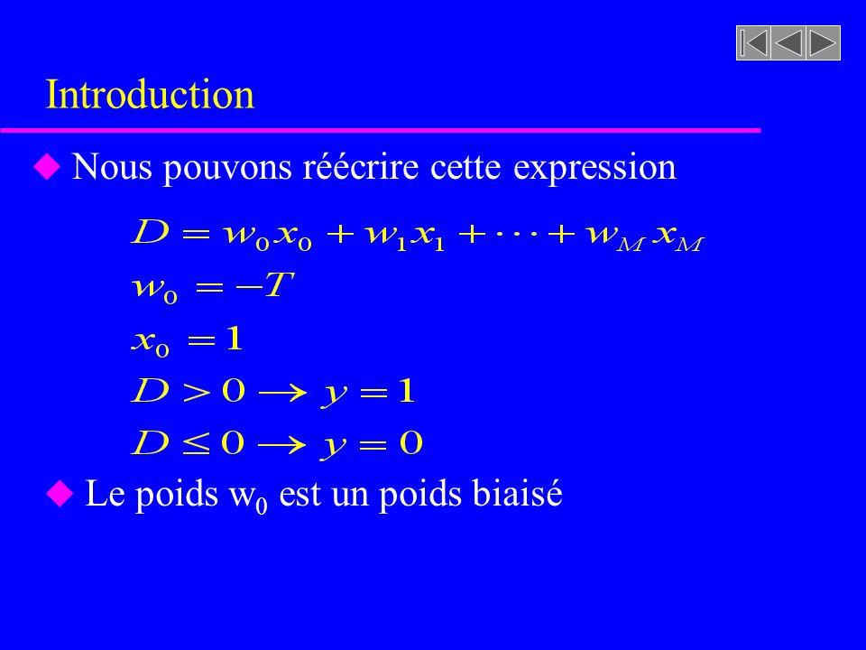 Introduction u Nous pouvons réécrire cette expression u Le poids w 0 est un poids biaisé
