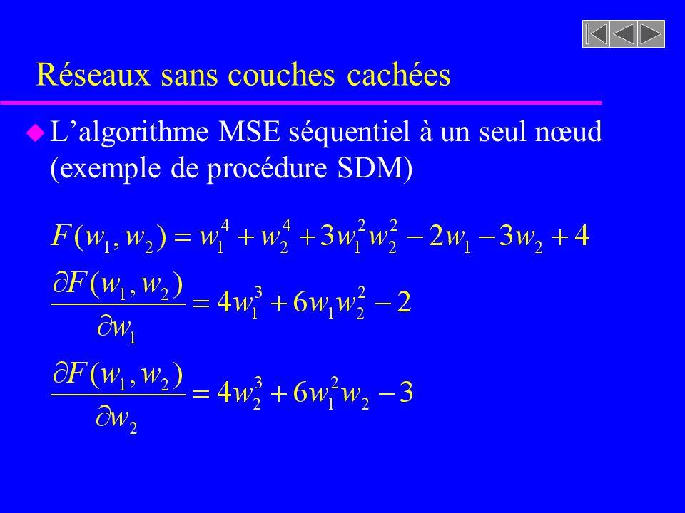 Réseaux sans couches cachées u Lalgorithme MSE séquentiel à un seul nœud (exemple de procédure SDM)