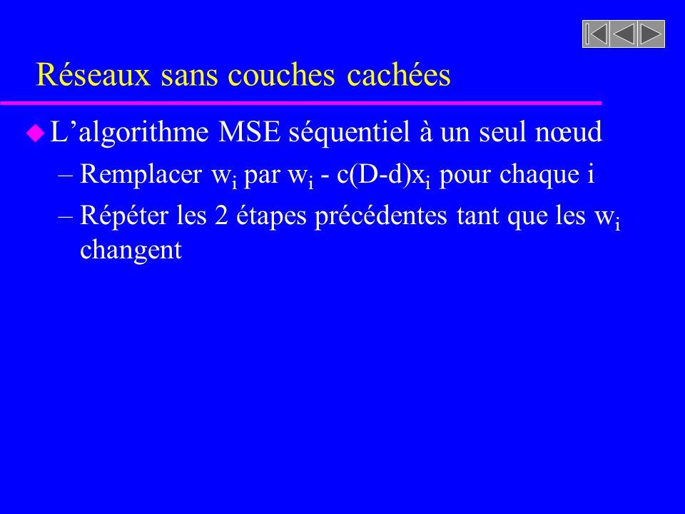 Réseaux sans couches cachées u Lalgorithme MSE séquentiel à un seul nœud –Remplacer w i par w i - c(D-d)x i pour chaque i –Répéter les 2 étapes précéd