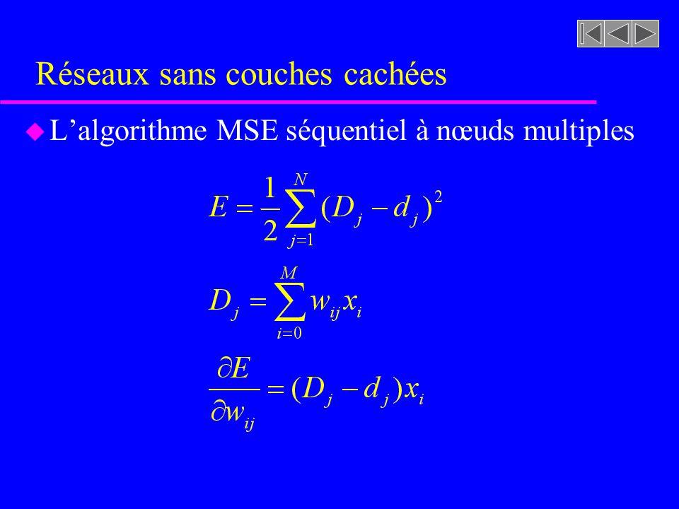 Réseaux sans couches cachées u Lalgorithme MSE séquentiel à nœuds multiples