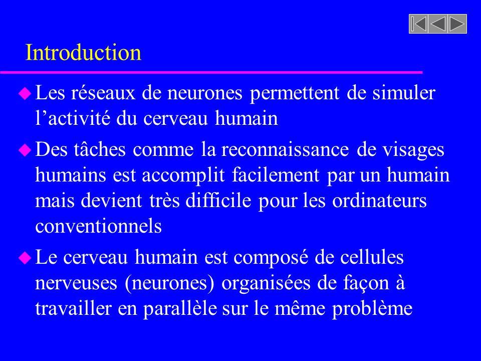 Introduction u Un neurone est constitué dun corps cellulaire, de dendrites qui reçoivent les signaux en entrée et daxones qui émettent les signaux en sortie u Les dendrites reçoivent des signaux des organes sensoriels (yeux, oreilles) ou daxones dautres neurones u Les axones émettent des signaux à des organes comme les muscles ou aux dendrites dautres neuronnes