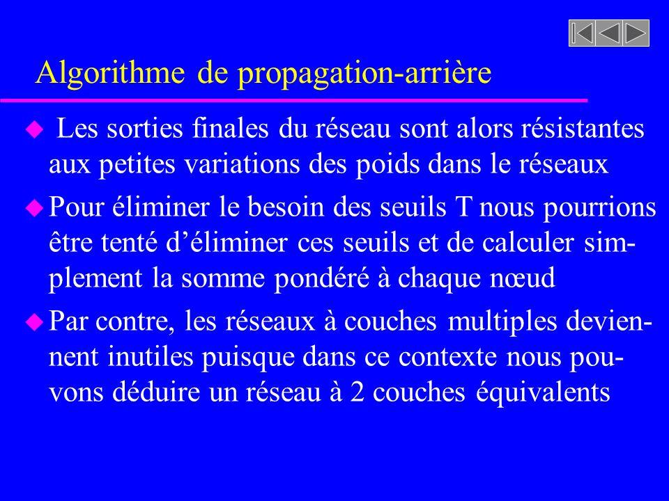 Algorithme de propagation-arrière u Les sorties finales du réseau sont alors résistantes aux petites variations des poids dans le réseaux u Pour élimi