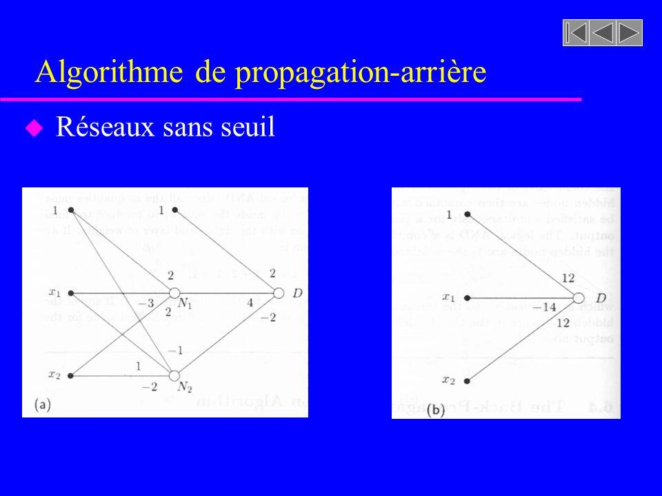 Algorithme de propagation-arrière u Réseaux sans seuil