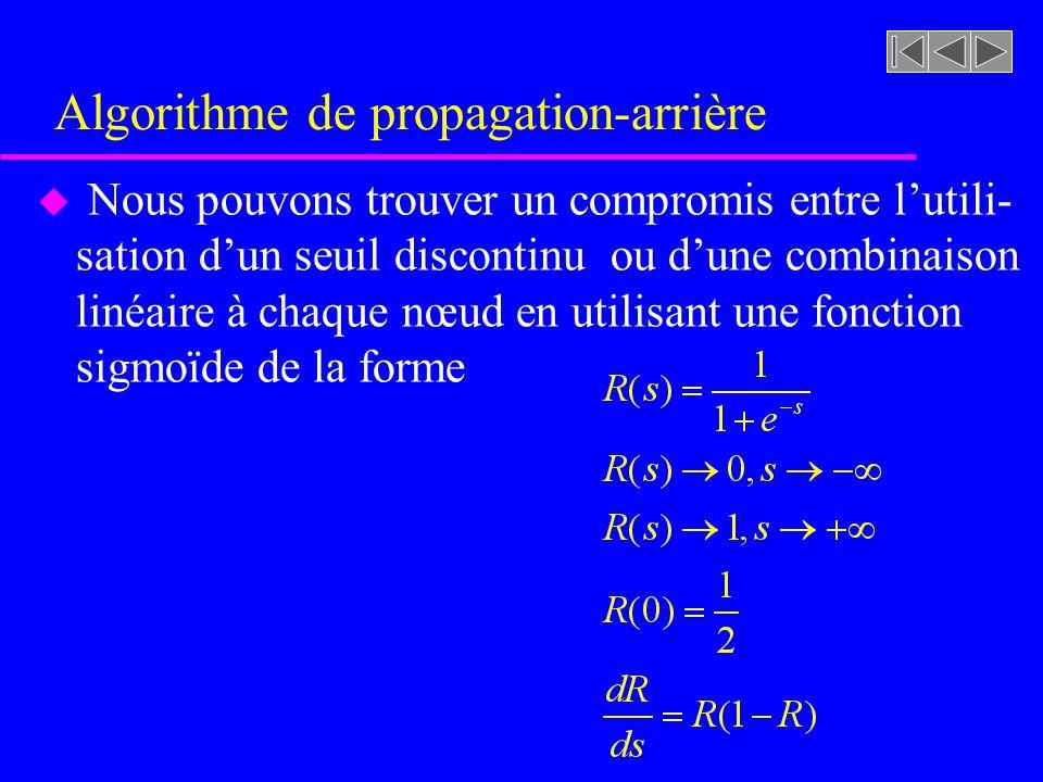 Algorithme de propagation-arrière u Nous pouvons trouver un compromis entre lutili- sation dun seuil discontinu ou dune combinaison linéaire à chaque