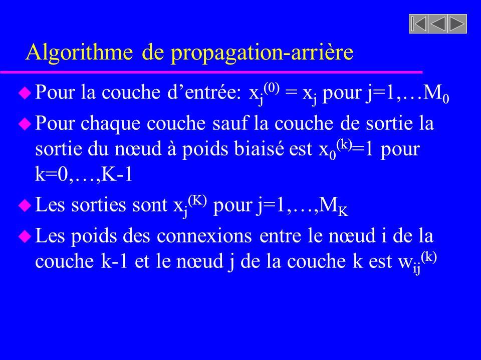 Algorithme de propagation-arrière u Pour la couche dentrée: x j (0) = x j pour j=1,…M 0 u Pour chaque couche sauf la couche de sortie la sortie du nœu