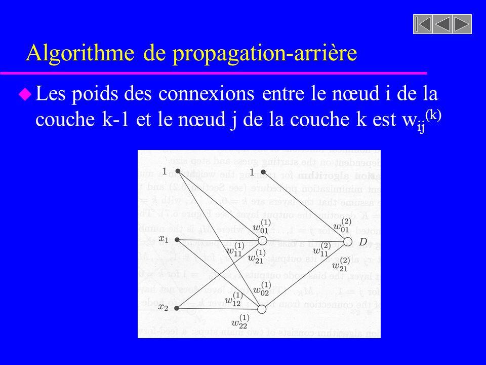 Algorithme de propagation-arrière u Les poids des connexions entre le nœud i de la couche k-1 et le nœud j de la couche k est w ij (k)