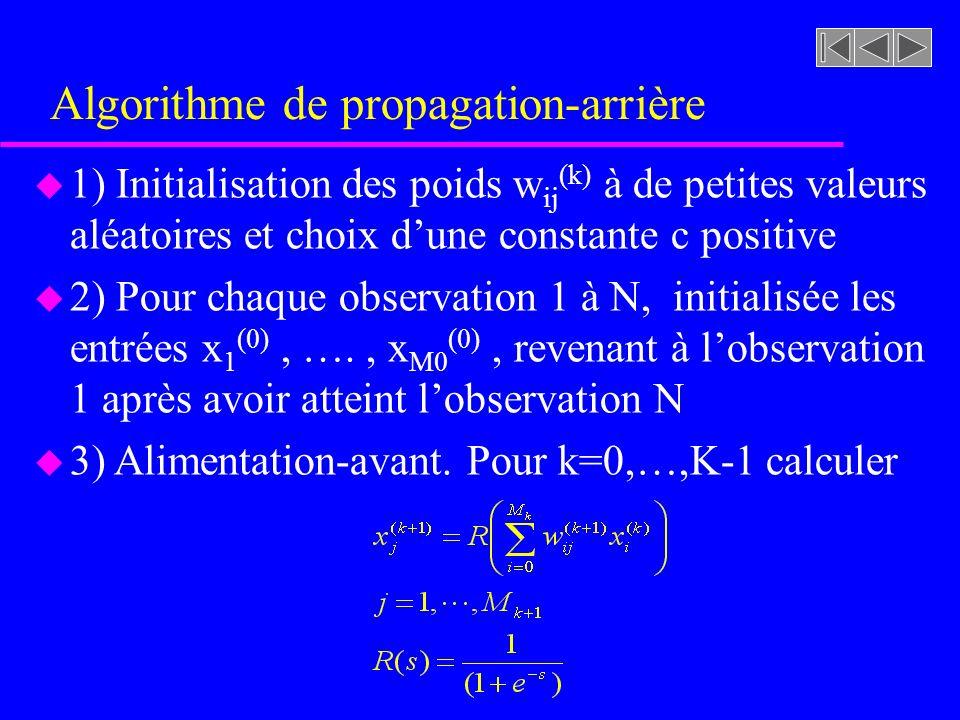 Algorithme de propagation-arrière u 1) Initialisation des poids w ij (k) à de petites valeurs aléatoires et choix dune constante c positive u 2) Pour