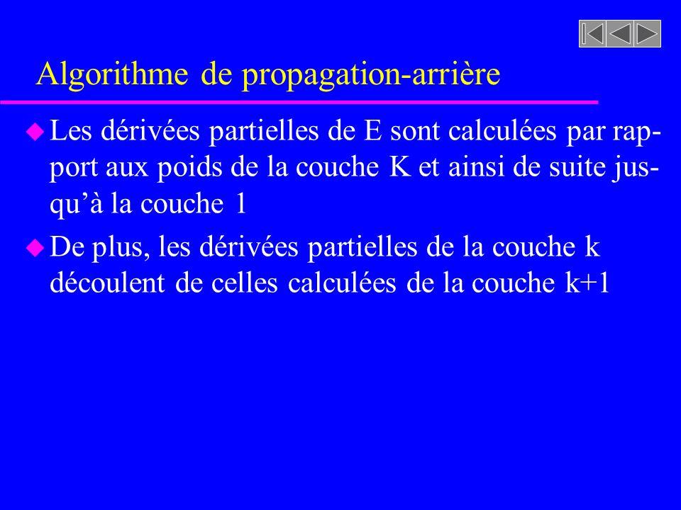 Algorithme de propagation-arrière u Les dérivées partielles de E sont calculées par rap- port aux poids de la couche K et ainsi de suite jus- quà la c