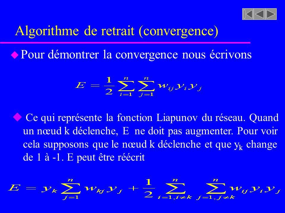 Algorithme de retrait (convergence) u Pour démontrer la convergence nous écrivons u Ce qui représente la fonction Liapunov du réseau. Quand un nœud k