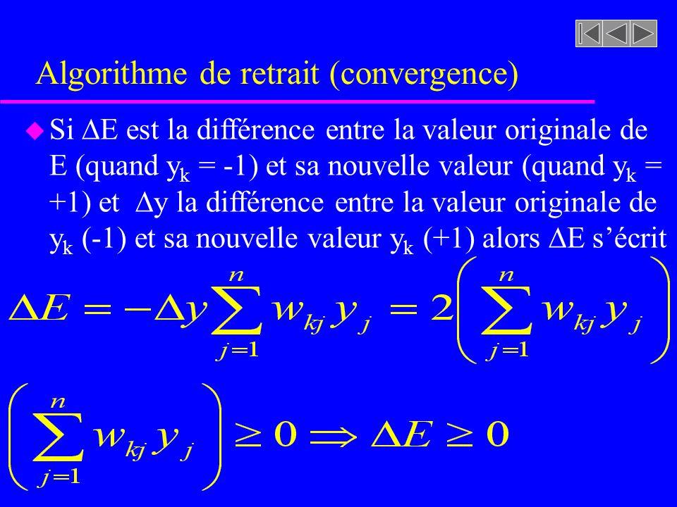 Algorithme de retrait (convergence) u Si E est la différence entre la valeur originale de E (quand y k = -1) et sa nouvelle valeur (quand y k = +1) et
